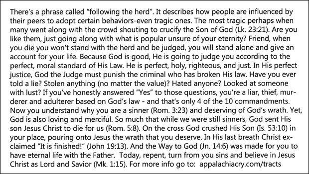 Herd Gospel Tract Text