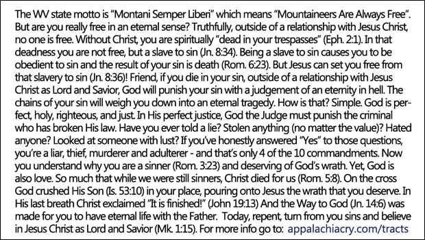 Mountaineers Gospel Tract Text