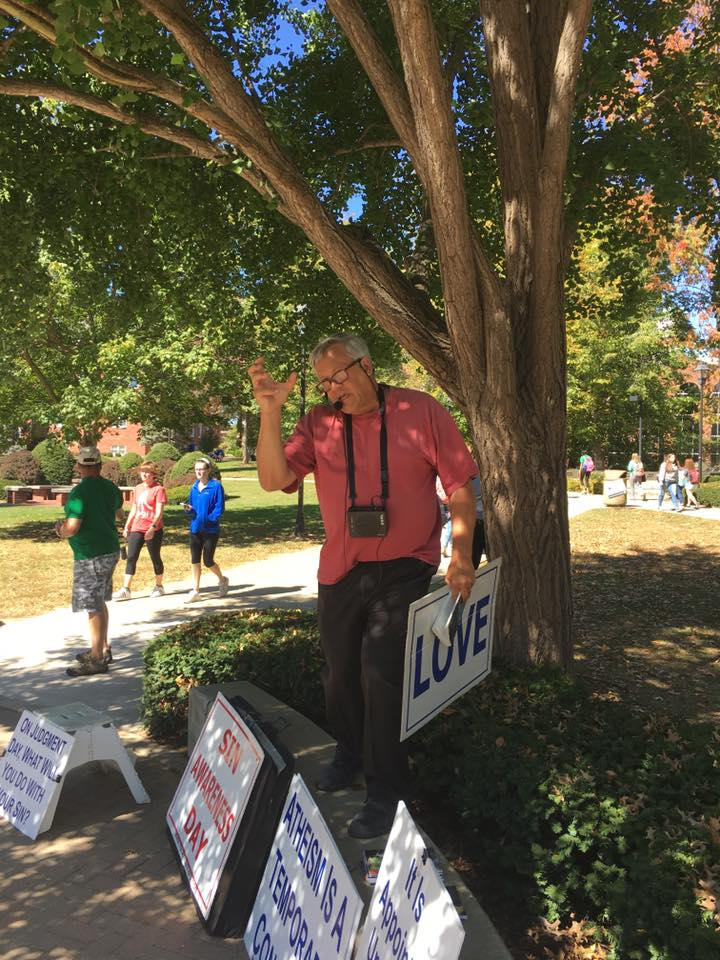 Scott Smith preaching to Marshall University students