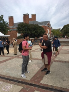 Mike Stockwell ministering to a Muslim at UVA