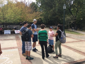 Mary sharing the Gospel with UVA students
