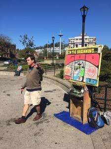 Zane Dempsie doing sketch evangelism at WVU