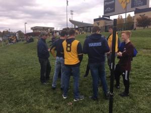 Adam Felder sharing the Gospel with a group of fans.