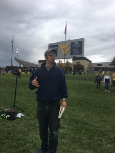 Adam Felder preaching at WVU game