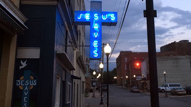 Jesus Saves Neon Sign