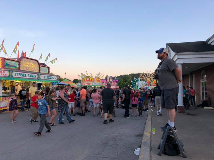 Eric preaching at 2019 WV Strawberry Festival